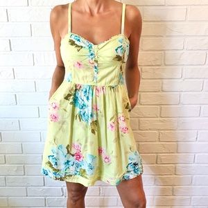 A&F boho green floral sweetheart mini dress M